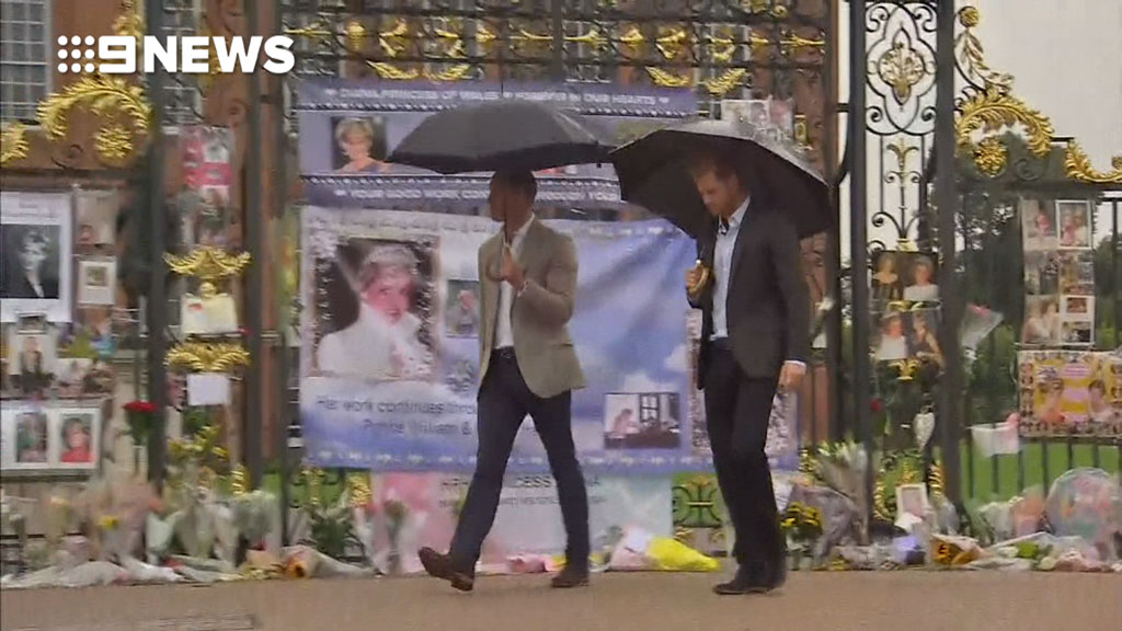 Prince William and Harry lay flowers