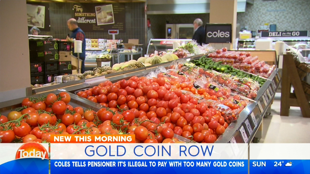 Pensioner is embarrassed for paying using gold coins at Coles