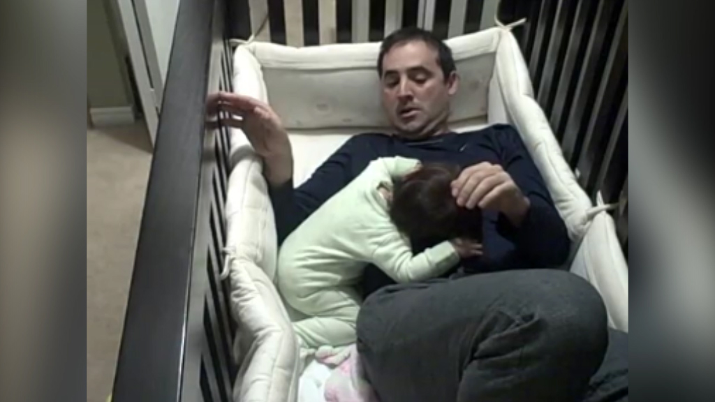 Dad's epic struggle to escape crib without waking baby daughter