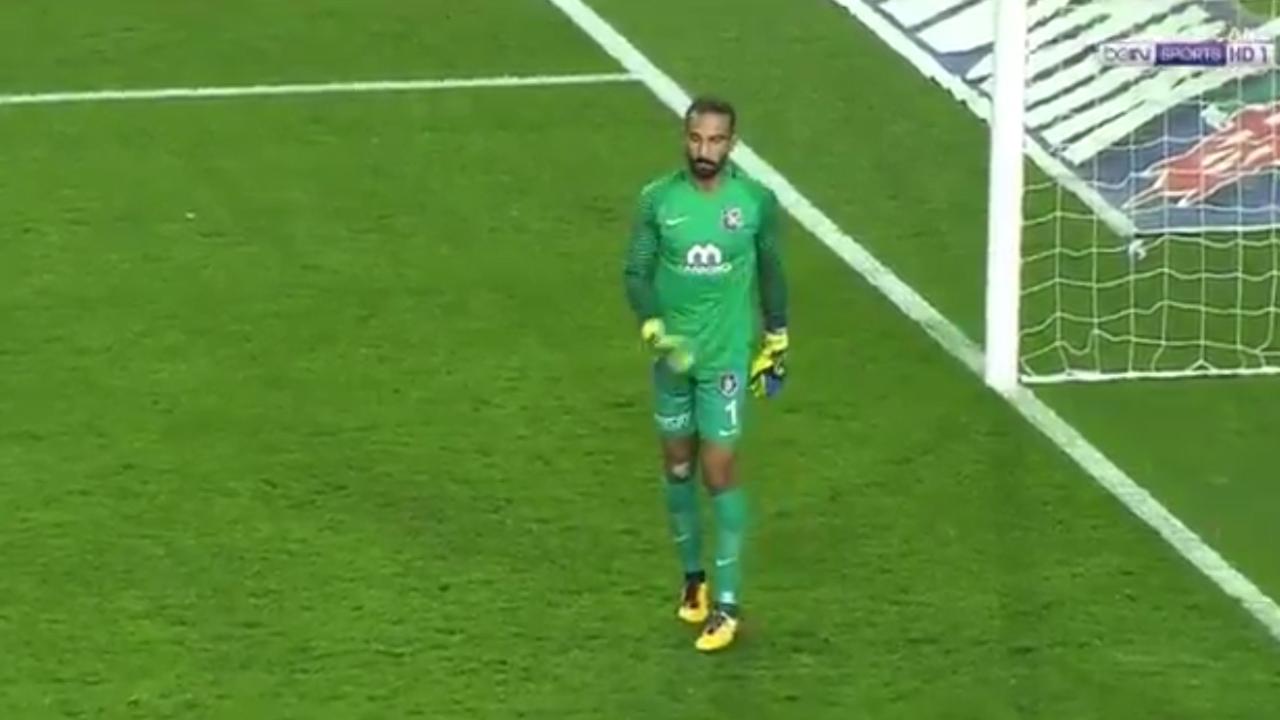 Fenerbahce fan pegs bottle at goalkeeper