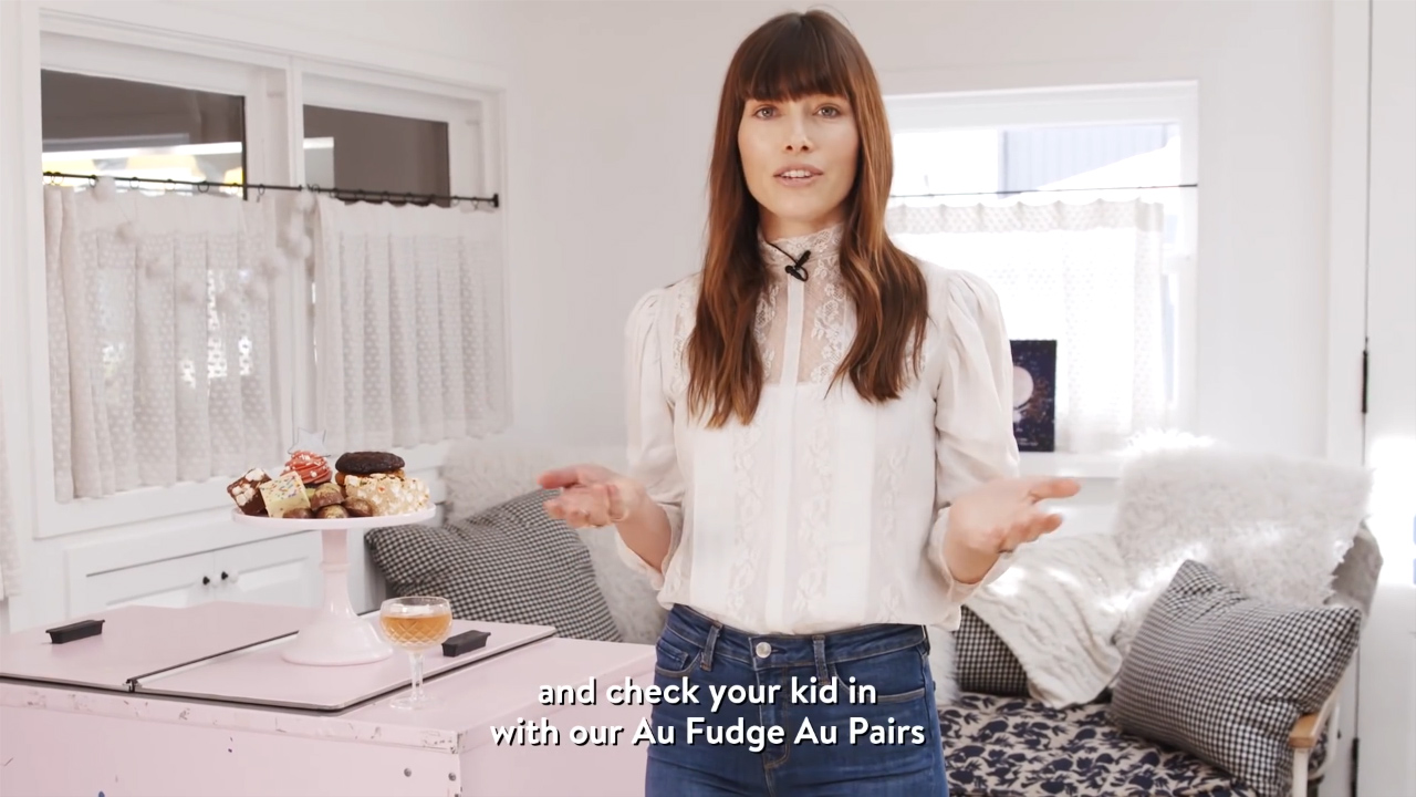 Jessica Biel gives a tour of Au Fudge