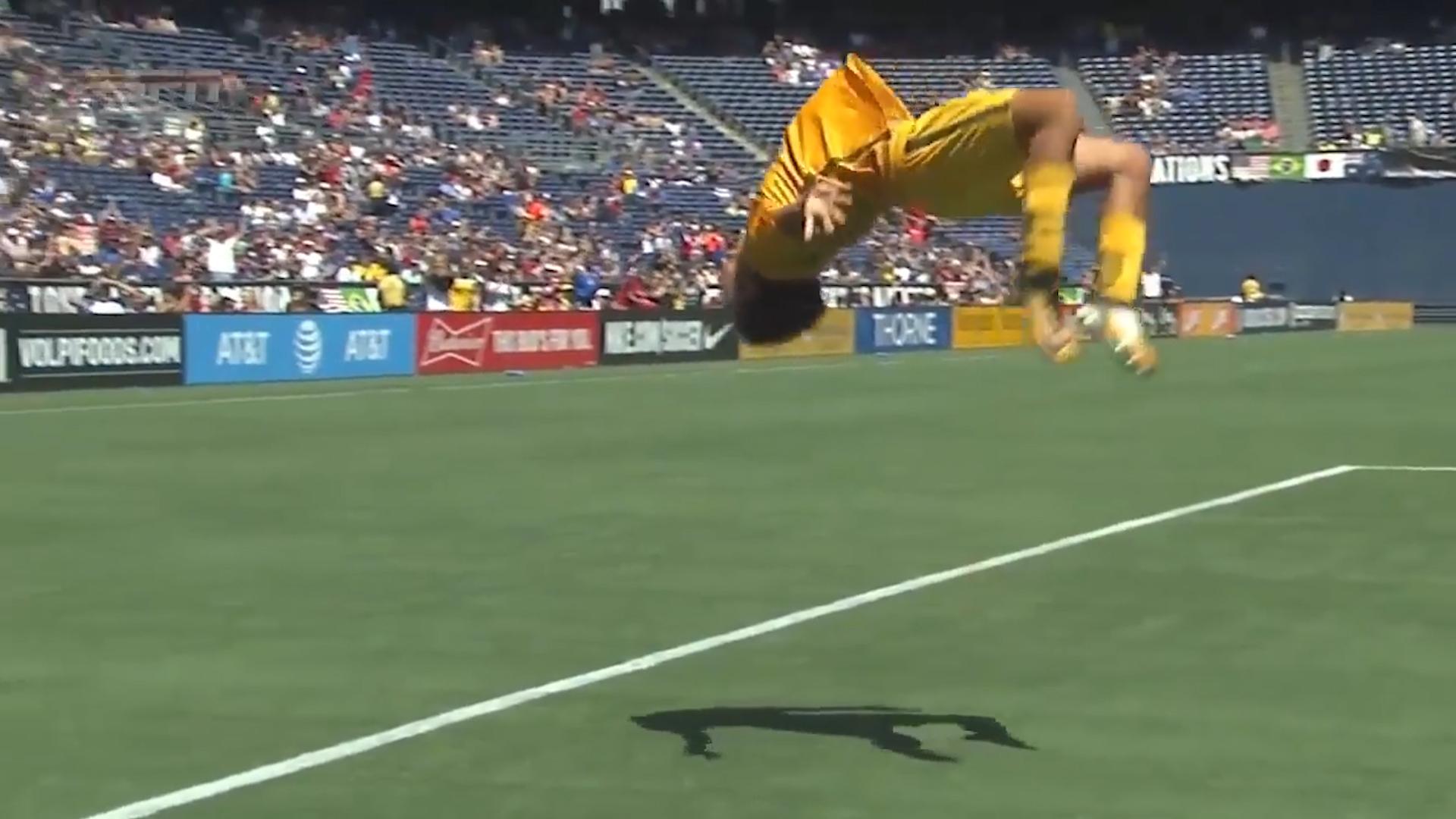Kerr celebrates goal in style