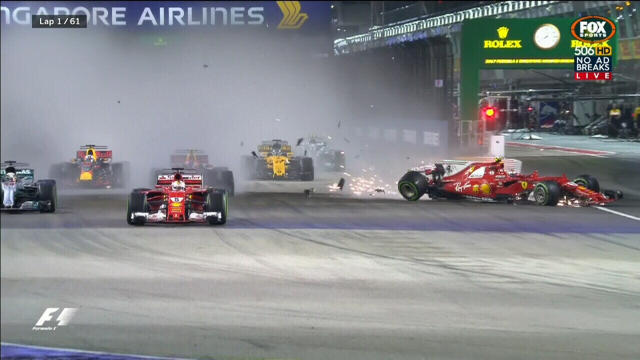 Singapore Grand Prix starts with spectacular crash