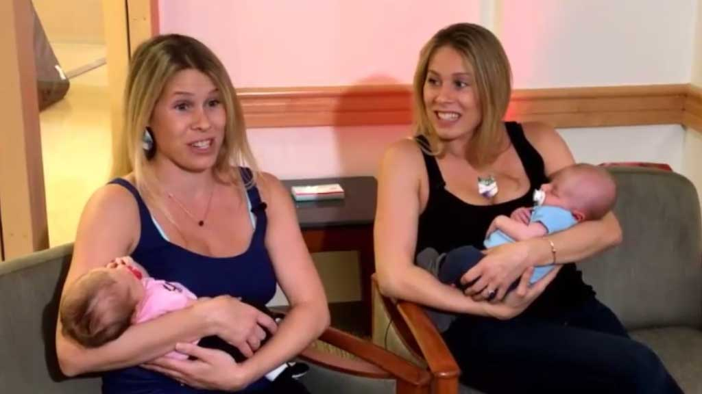 Identical twins give birth hours apart in the same hospital
