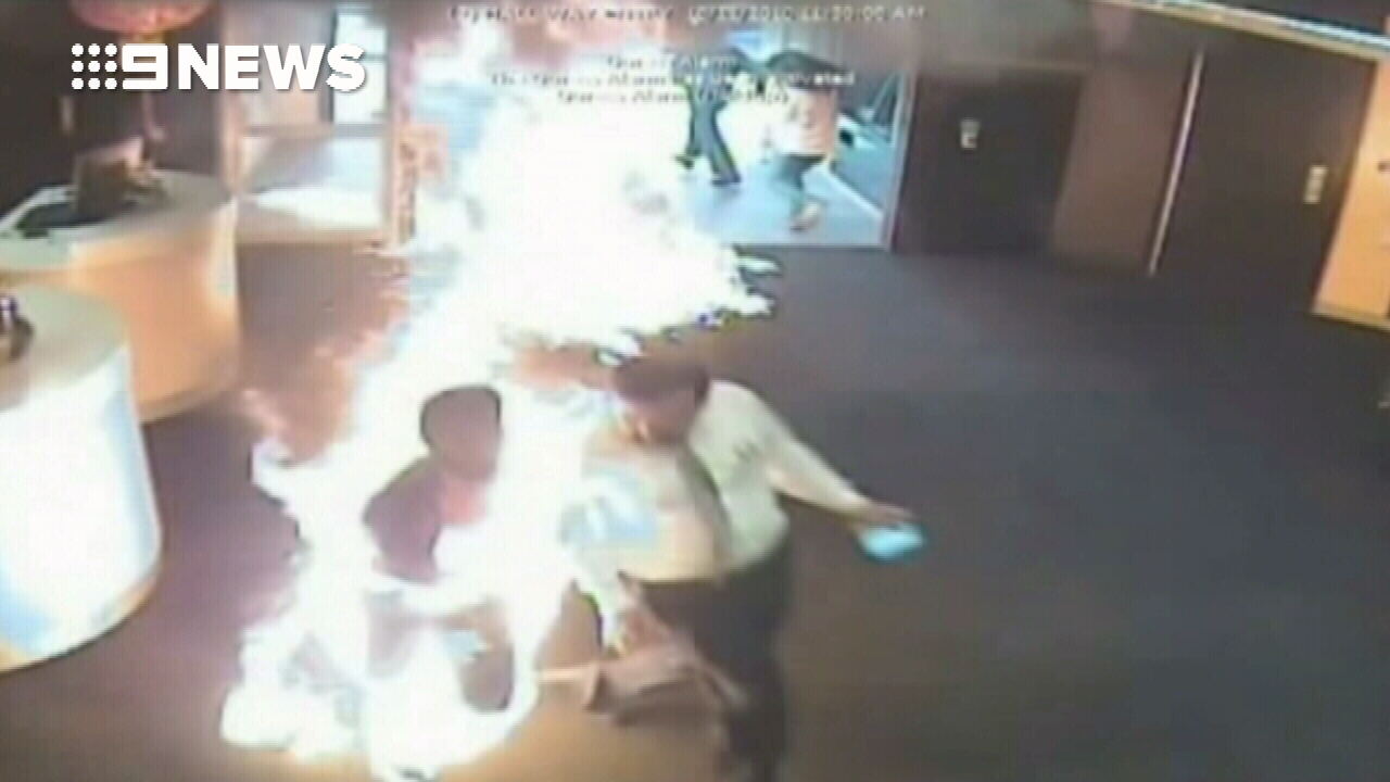 Customers flee as accused arsonist sets bank alight