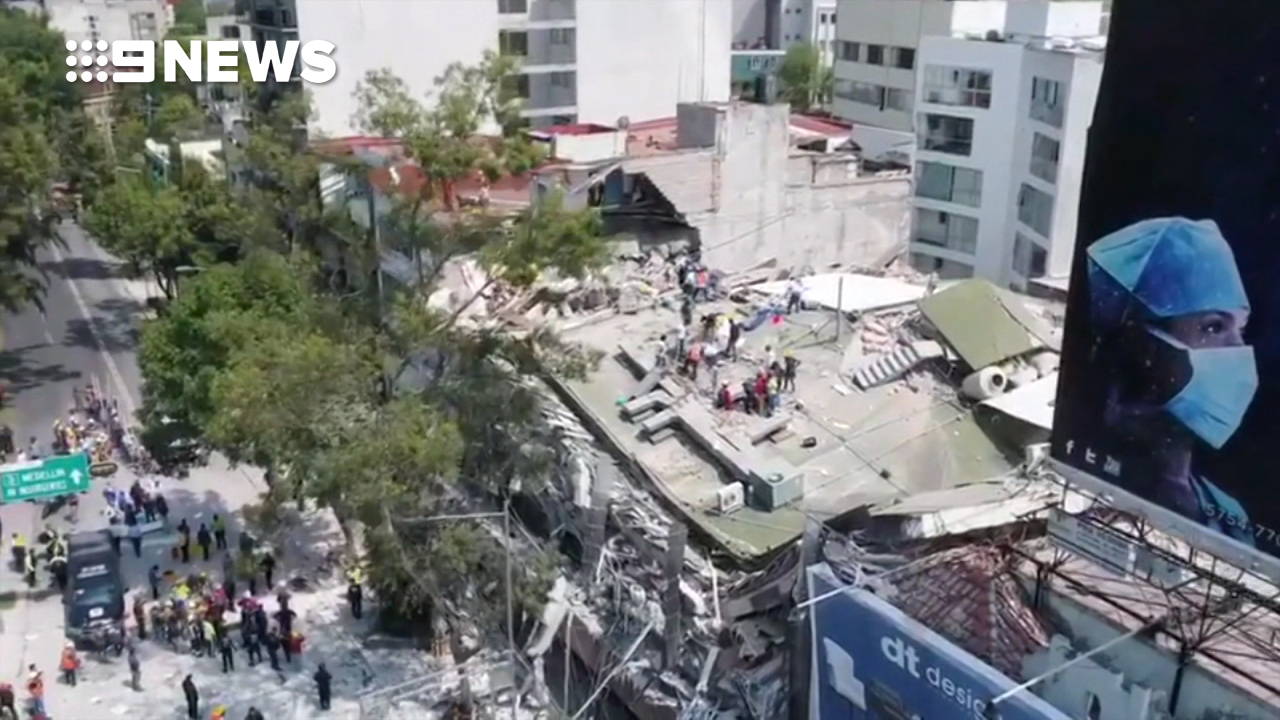 Drone footage shows devastation after major earthquake in Mexico