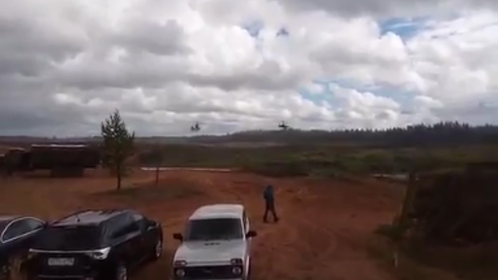 Russian military helicopter accidentally fires at spectators