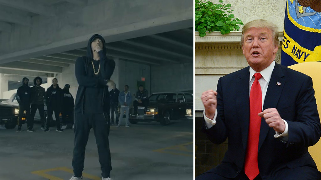 Eminem calls Trump a 'nuclear holocaust kamikaze' in freestyle cypher