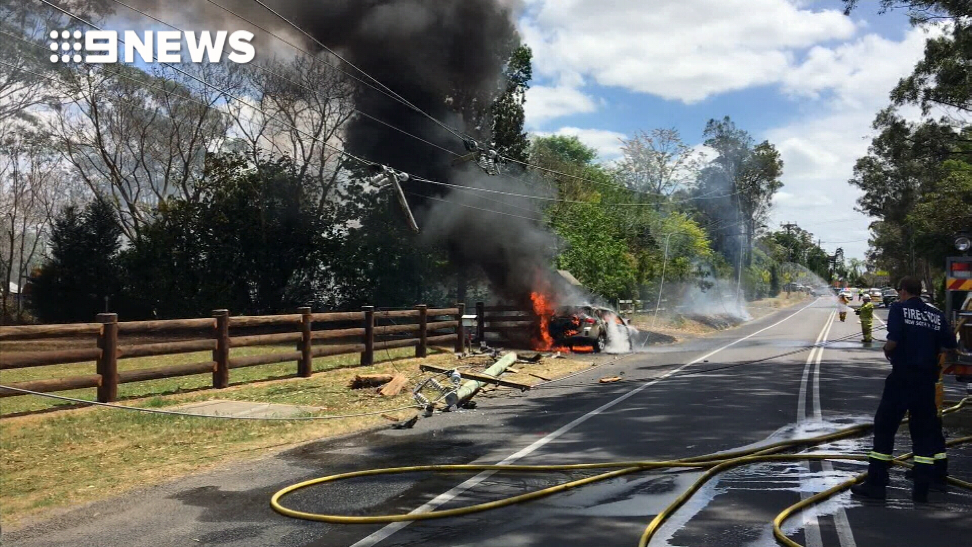Baby and grandmother pulled from burning car