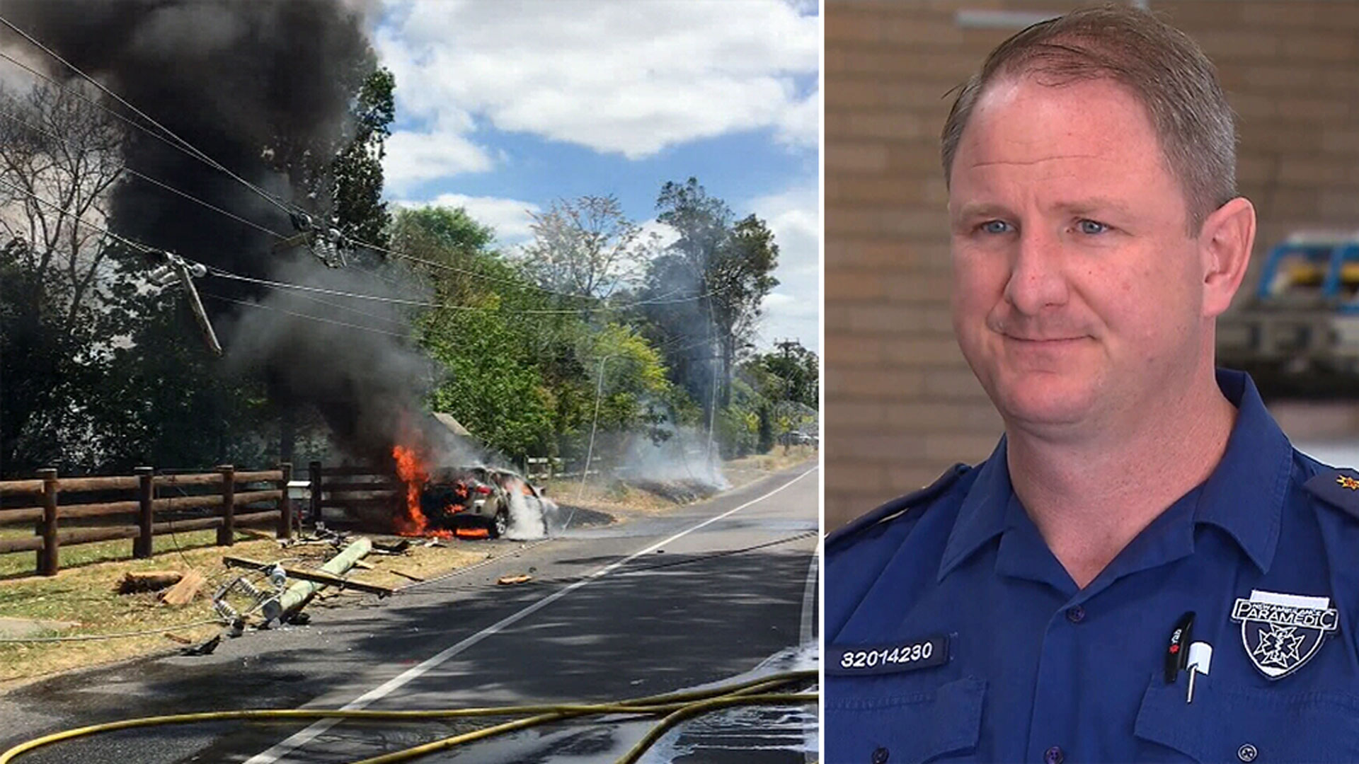 Off-duty paramedic treats grandmother and baby after fiery crash