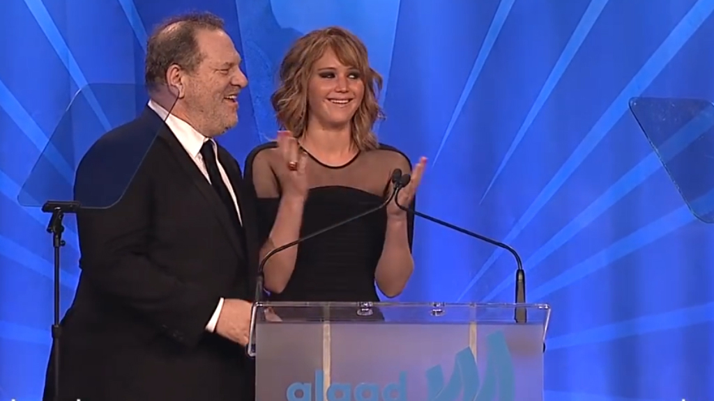 Jennifer Lawrence and Harvey Weinstein present Bill Clinton with GLAAD award