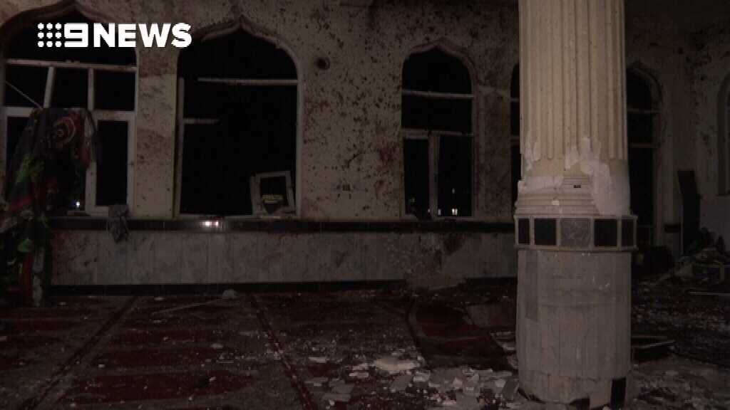 NEWS: Mosque walls splattered with blood following suicide bomb attack