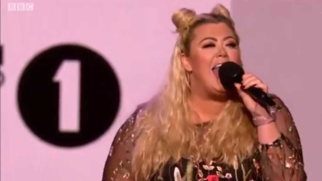 Reality star Gemma Collins fell through a hole on stage