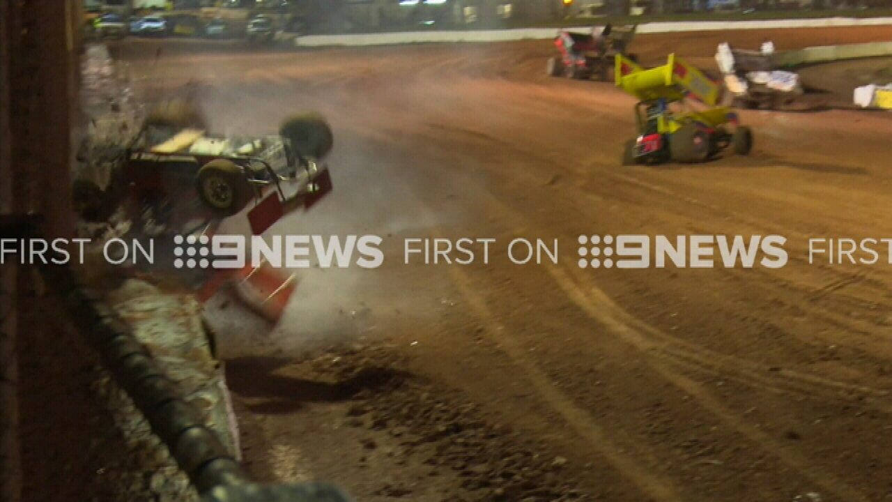 Moment sprint car crashes on speedway