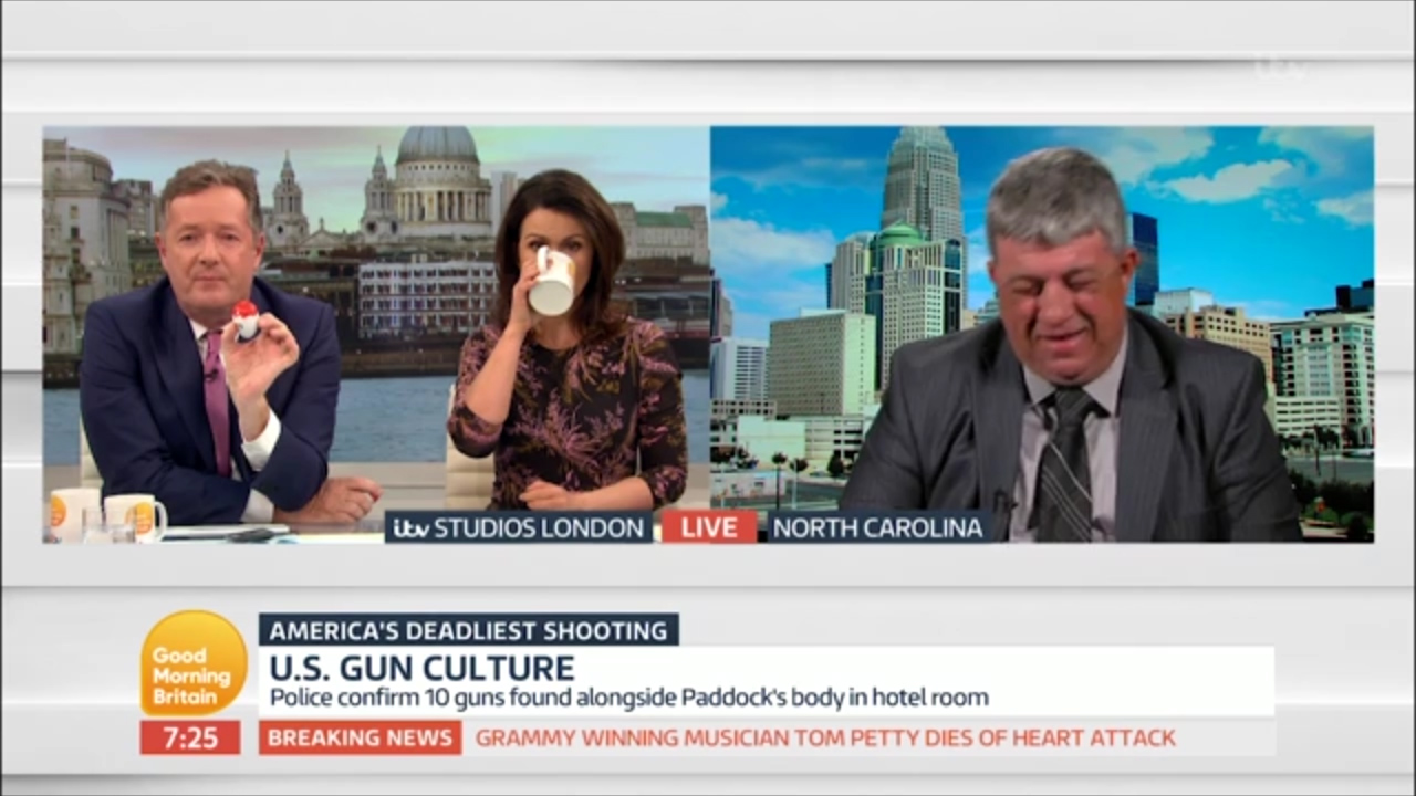 US pro-gun campaigner laughs during morning TV interview
