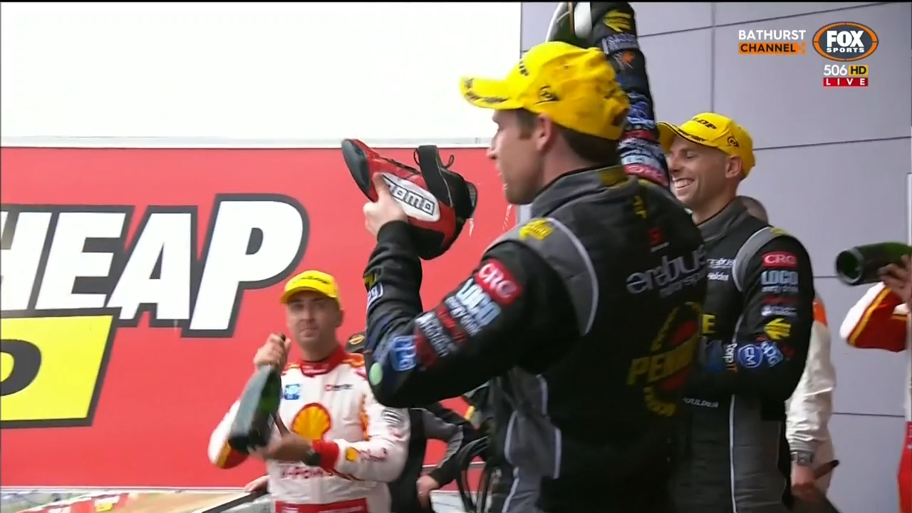 Reynolds performs a shoey