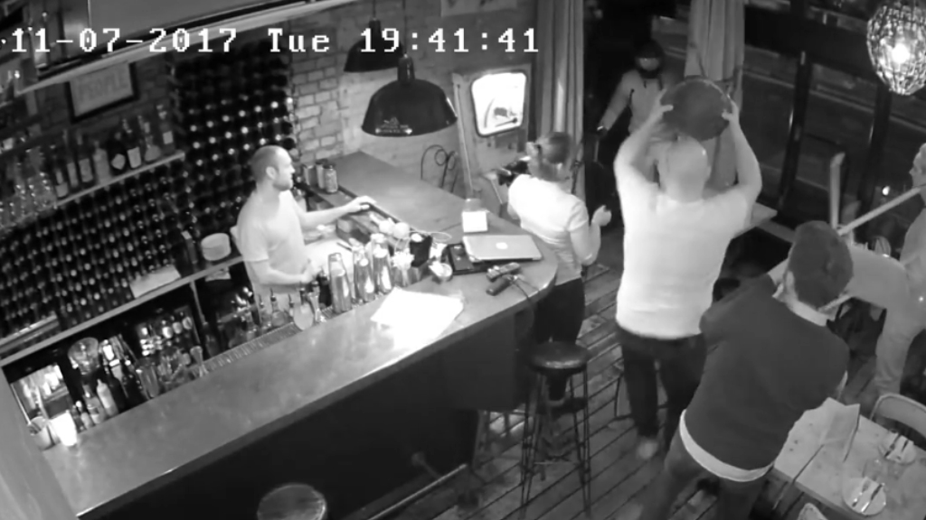 Customers chase moped thief from bar