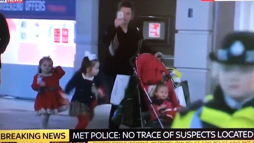Mum films terror scare while kids run around