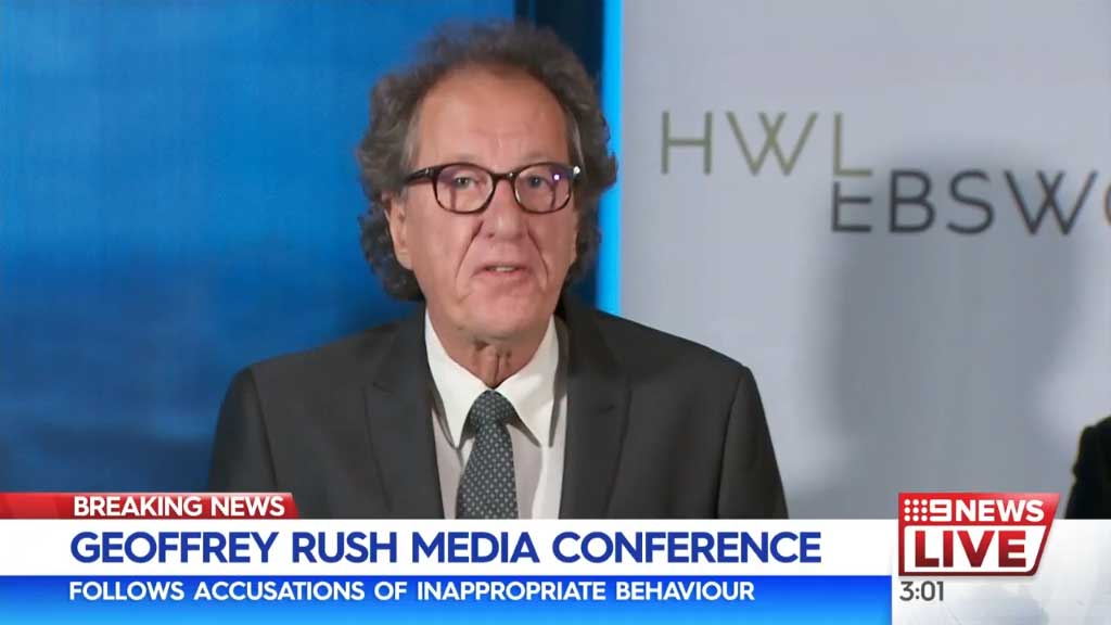 Geoffrey Rush holds press conference following sexual misconduct allegations