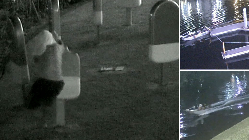 Duo filmed trying to steal giant-sized 'Paddle Pops' before fleeing in tinnie