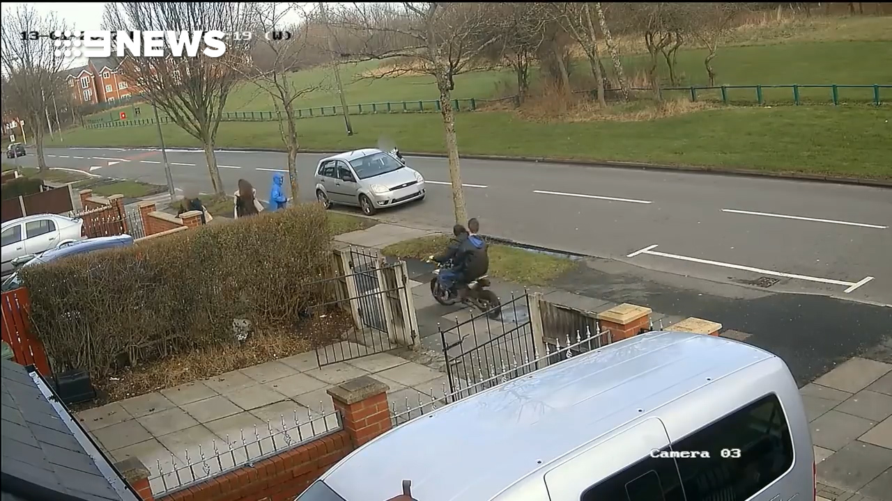 Moment girl is struck by off-road motorbike