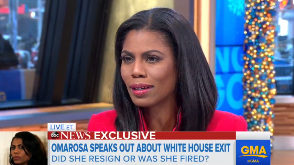 Omarosa Manigault-Newman says she 'resigned' from White House role