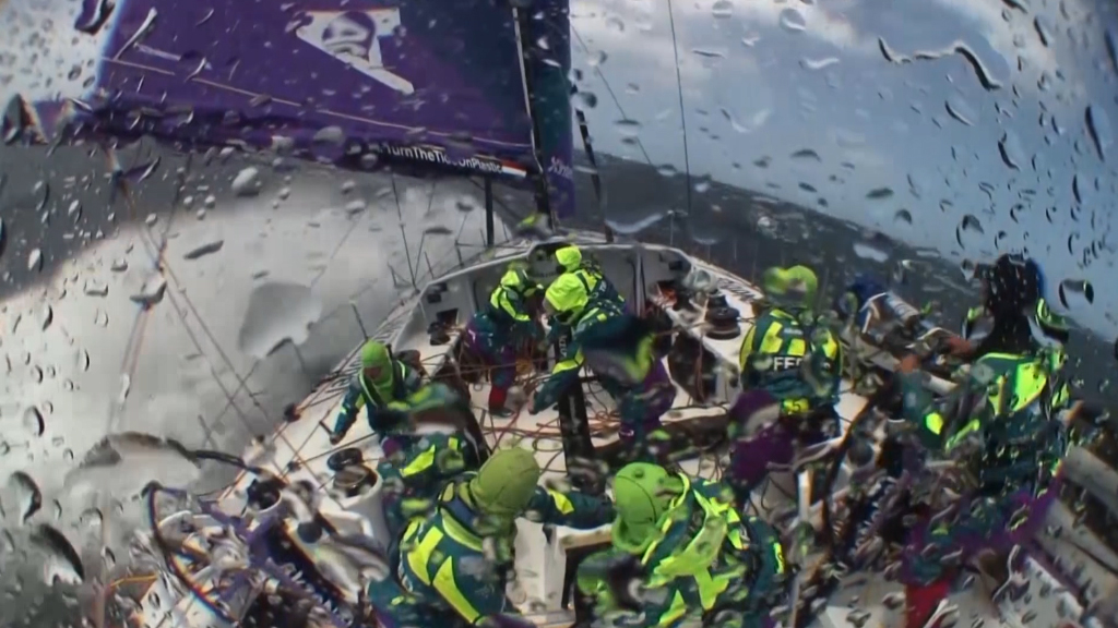 Powerful winds pound Volvo Ocean Race team