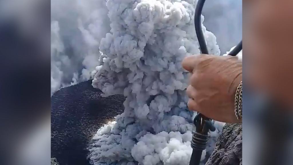 Man climbs erupting volcano to film it