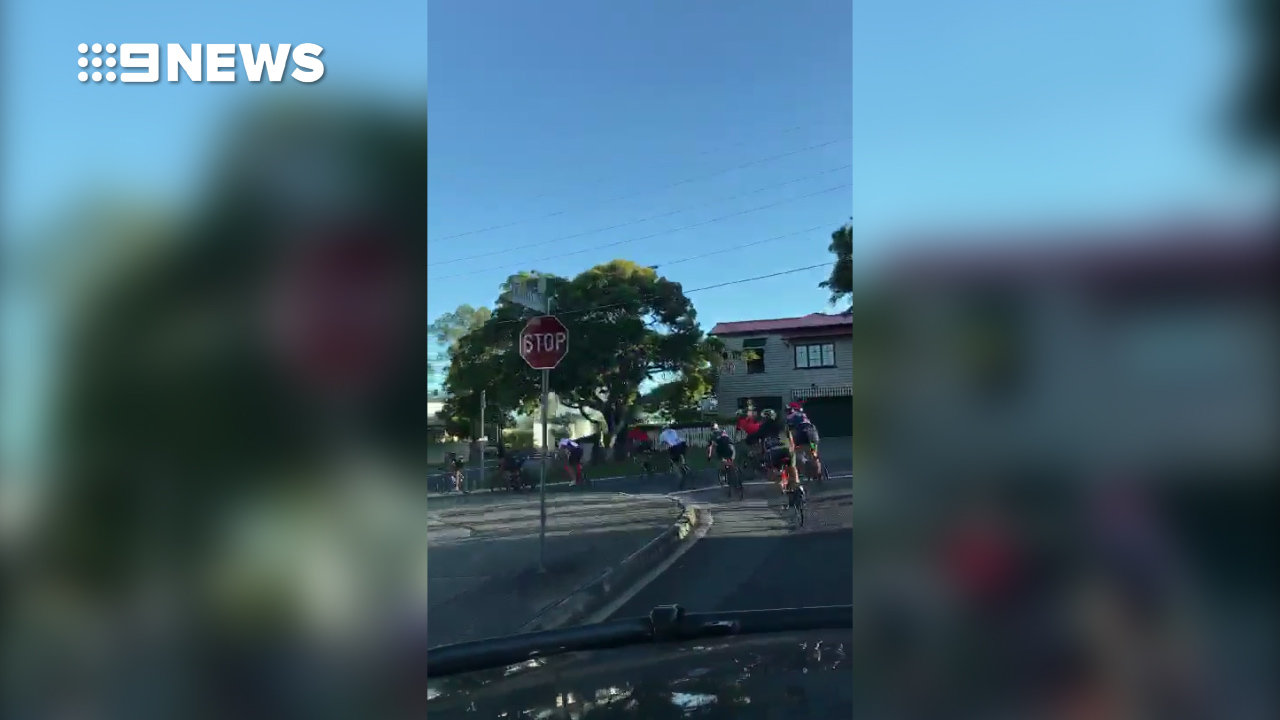 'Aggressive' cyclists caught riding through stop sign
