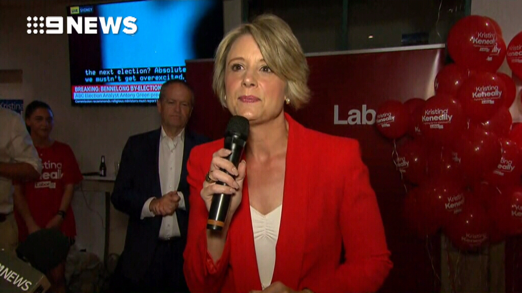 Labor candidate Kristina Keneally congratulates John Alexander