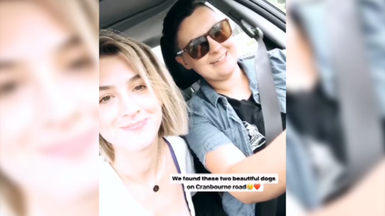 Alex Nation and girlfriend Maegan Luxa drive around Melbourne together