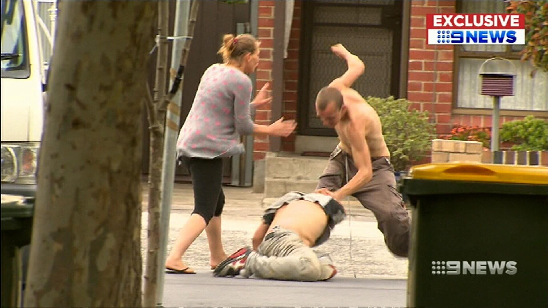 Wild brawl caught on camera in Melbourne