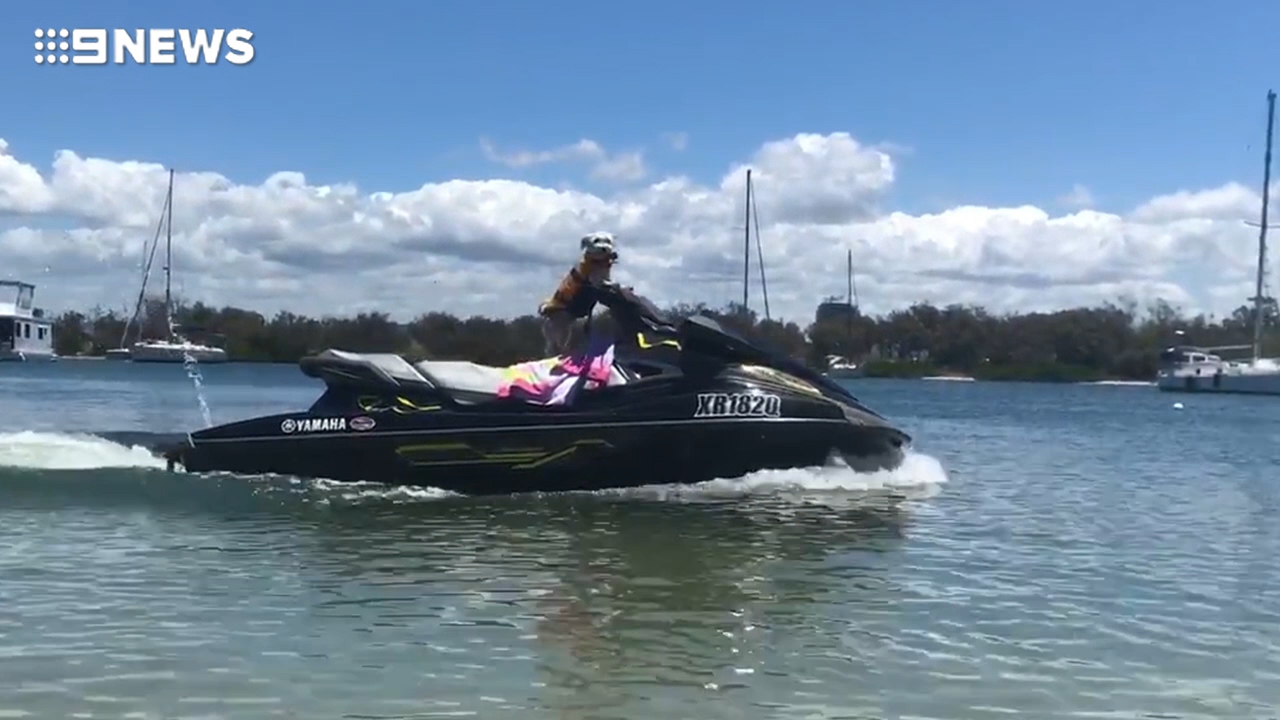 Dog shows off its jet skiing skills