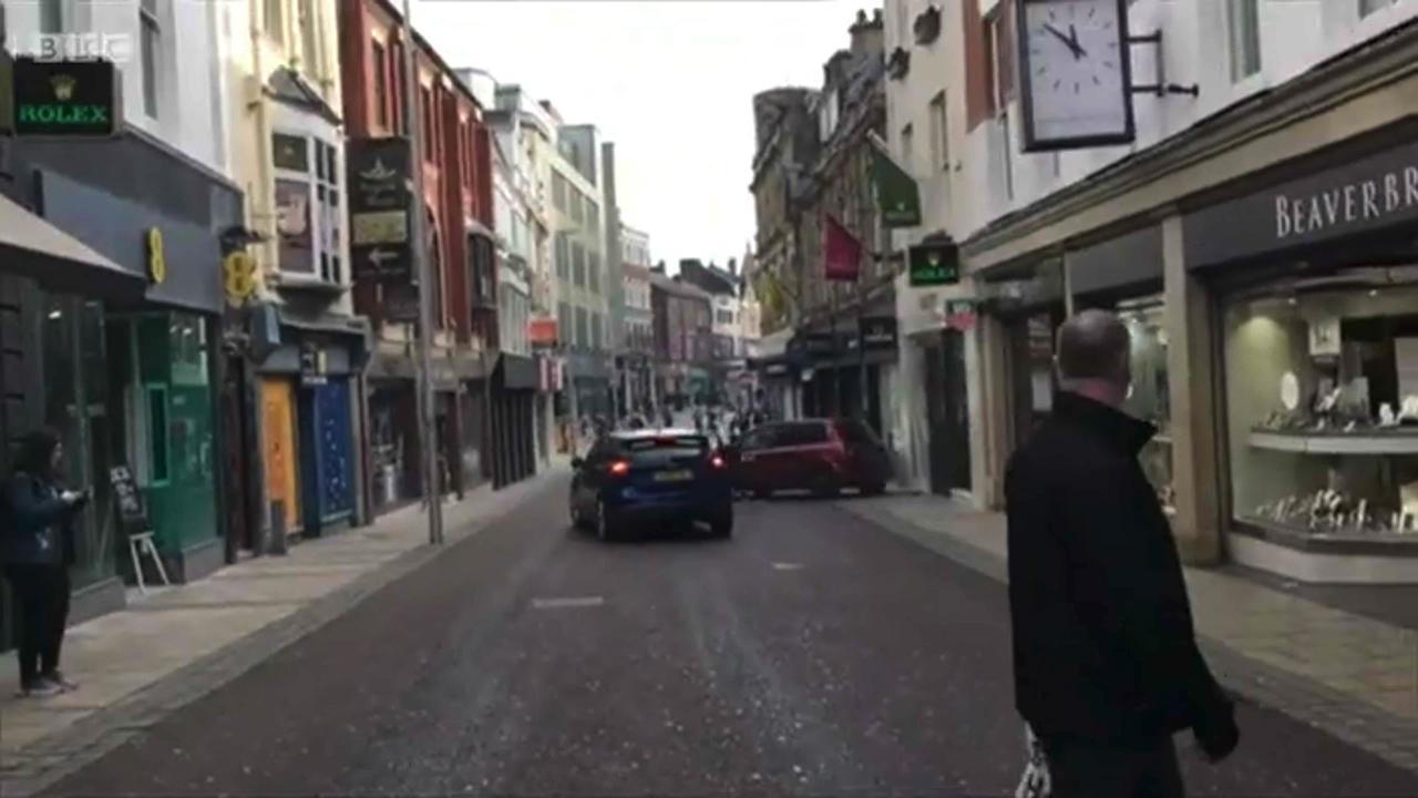 Brazen ram-raid on UK street filmed