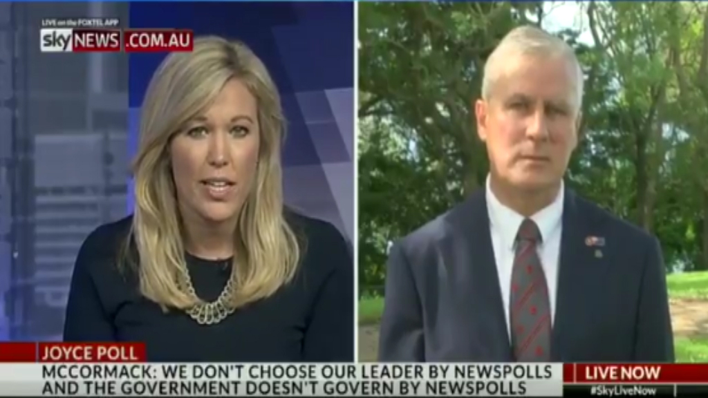 Michael McCormack in awkward TV interview