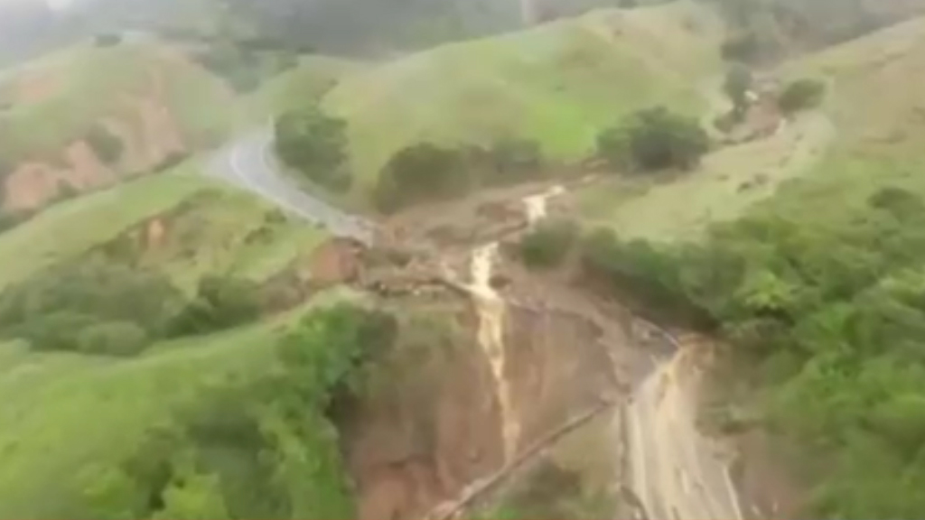 Drone footage shows damage from Gita