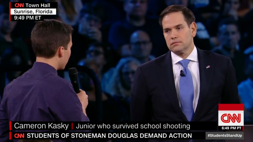Shooting survivor asks Rubio if he'll take NRA donations