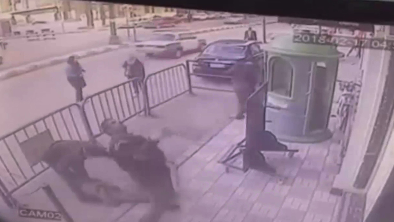 Police officer catches falling child
