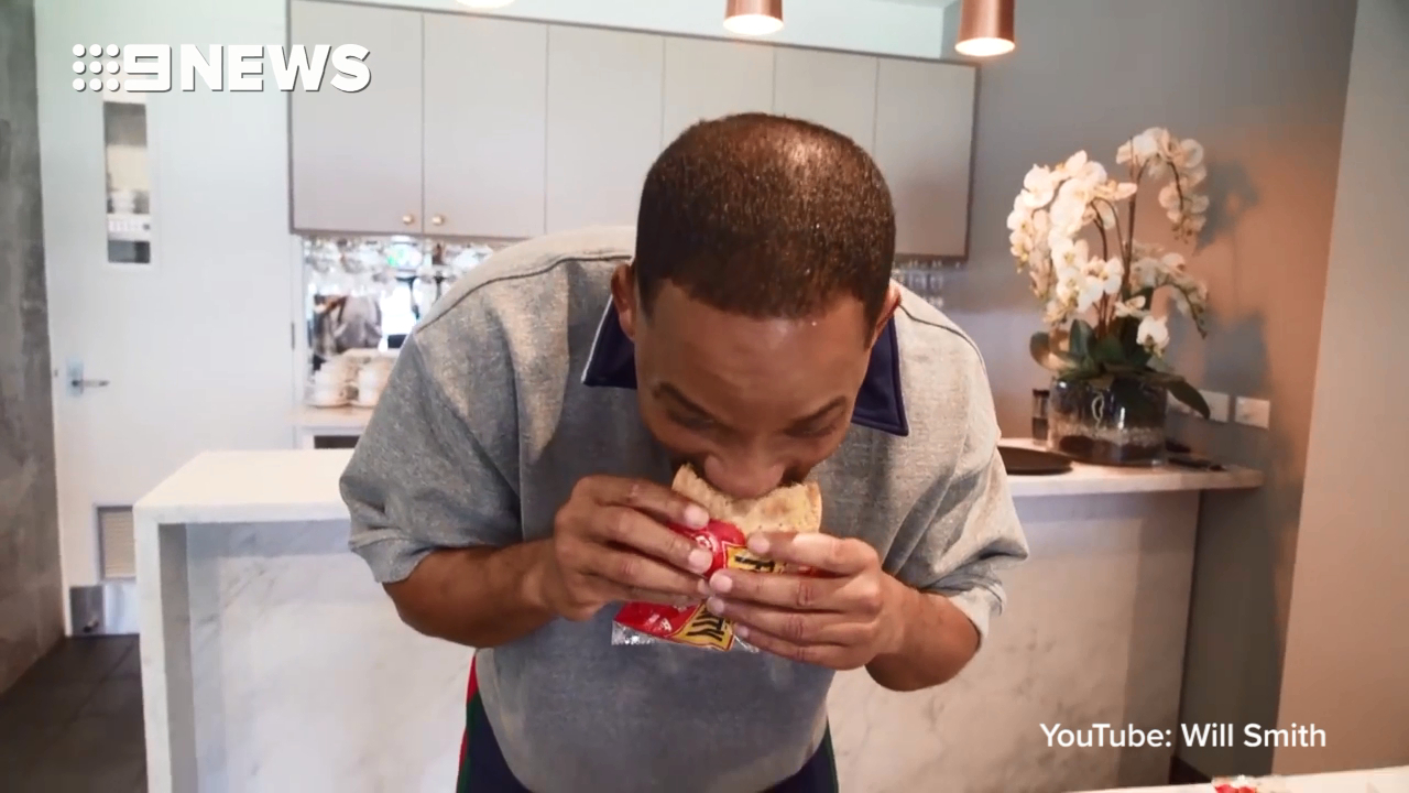 Will Smith tries first Australian meat pie with hilarious results