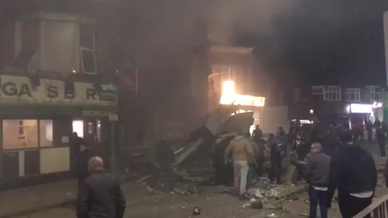 Building explodes in UK city