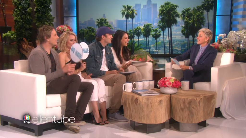 Ashton Kutcher, Mila Kunis, Dax Shepard and Kristen Bell play 'Never Have We Ever'