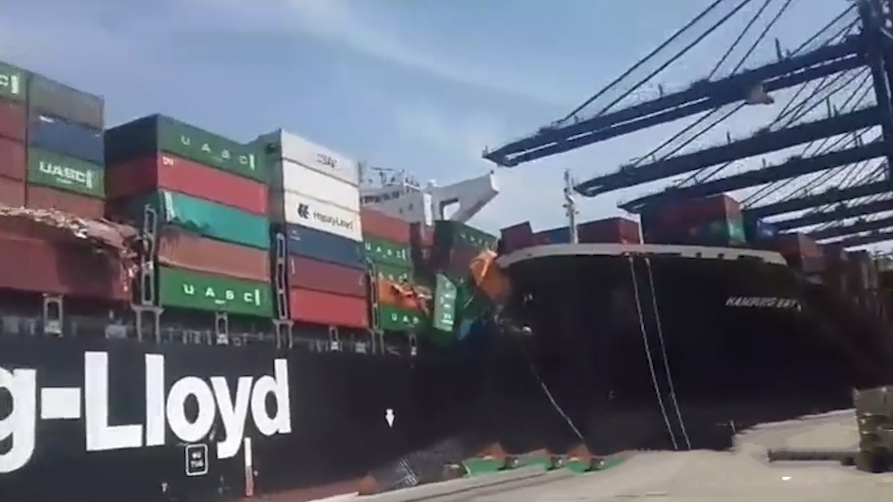 Container ship causes destruction after collision at Karachi port