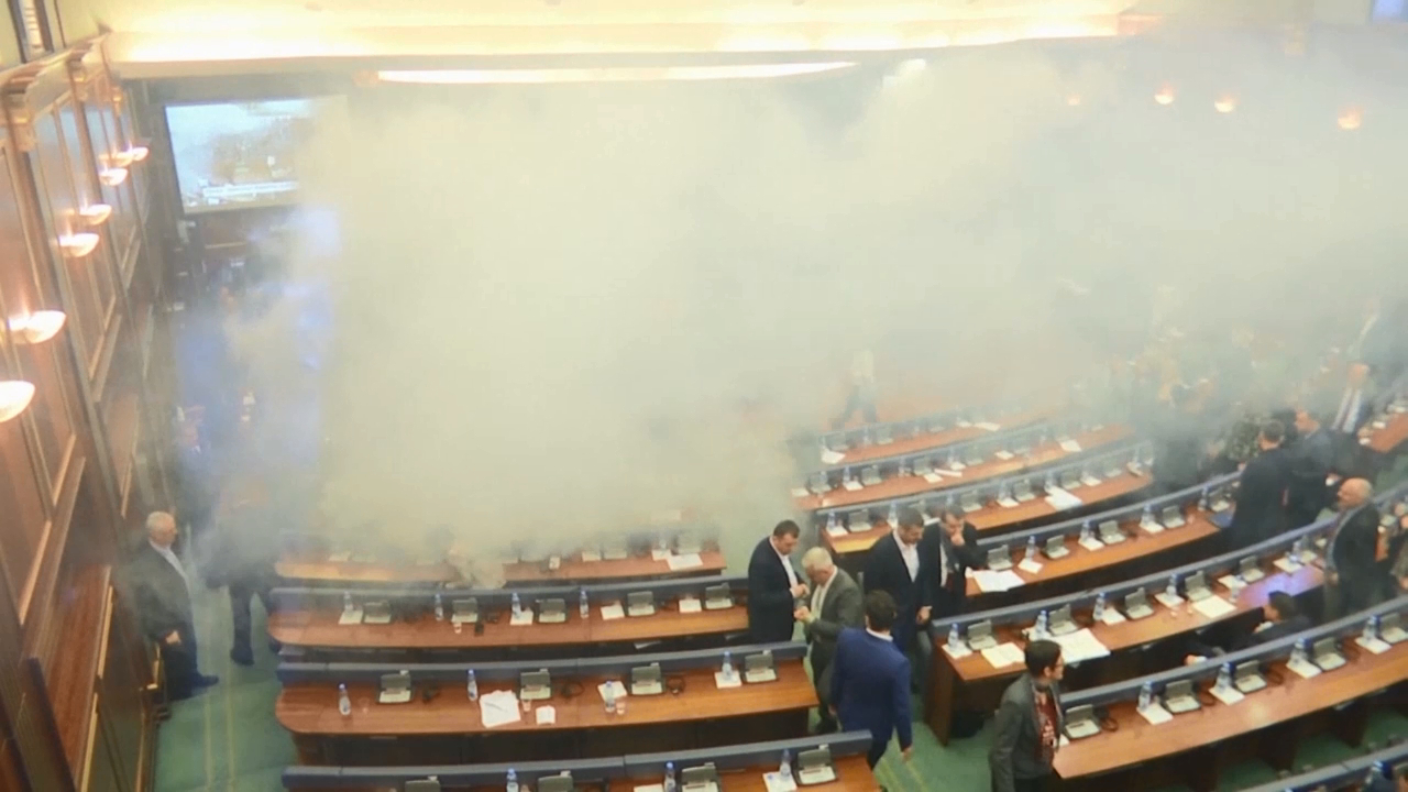 Opposition lawmakers throw tear gas in Kosovo parliament