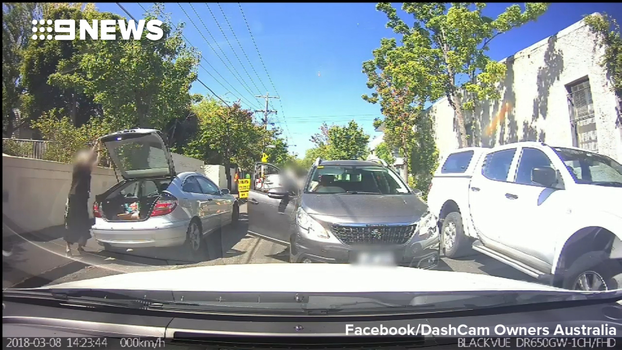 Drivers come face-to-face in heated argument over who has right-of-way