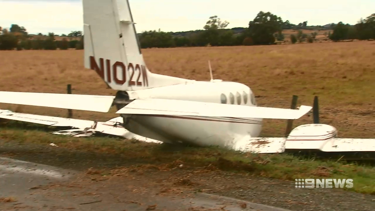 Light plane crashes outside airport