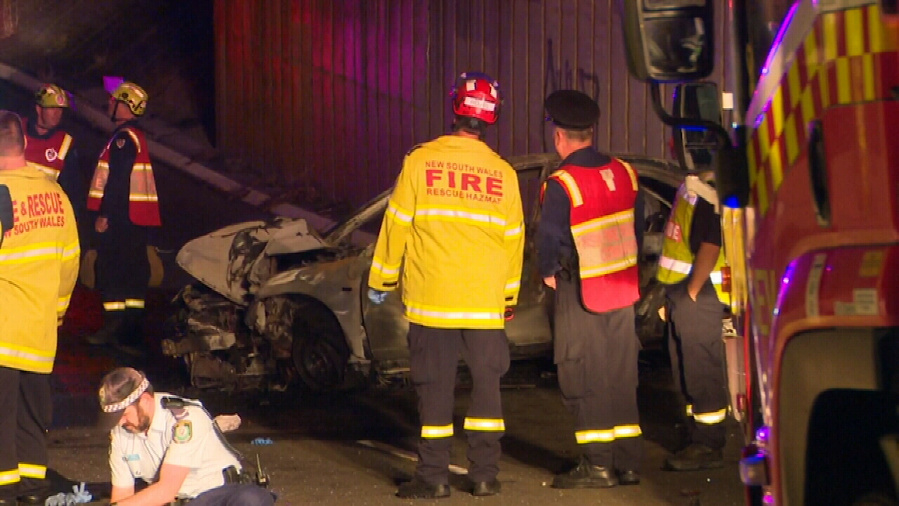 Car slams into Blacktown pole