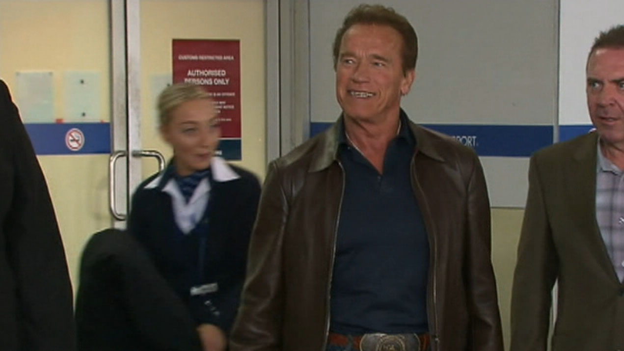 Schwarzenegger struck by flying kick at South Africa sports event