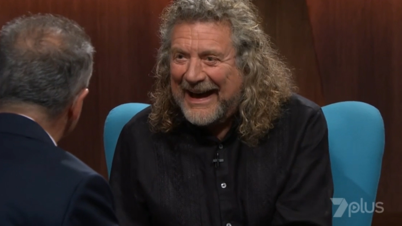 Andrew Denton and Robert Plant listen to old records