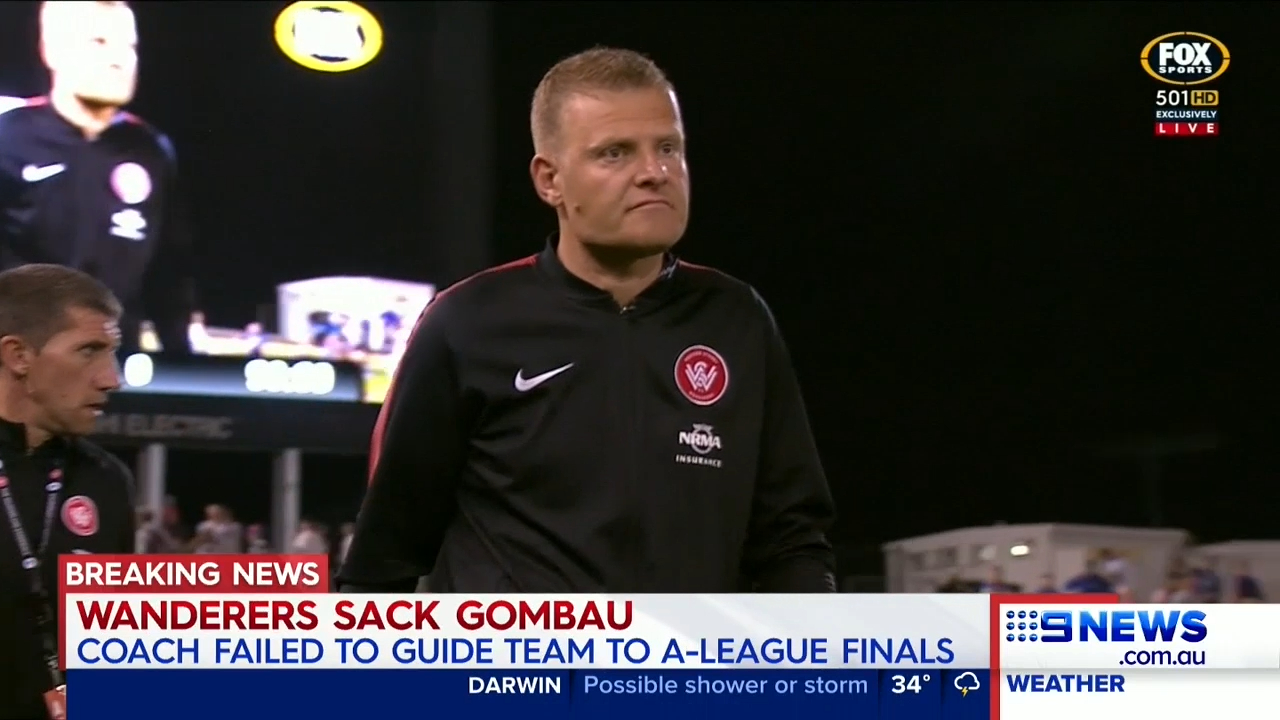 Gombau receives a red card from Wanderers