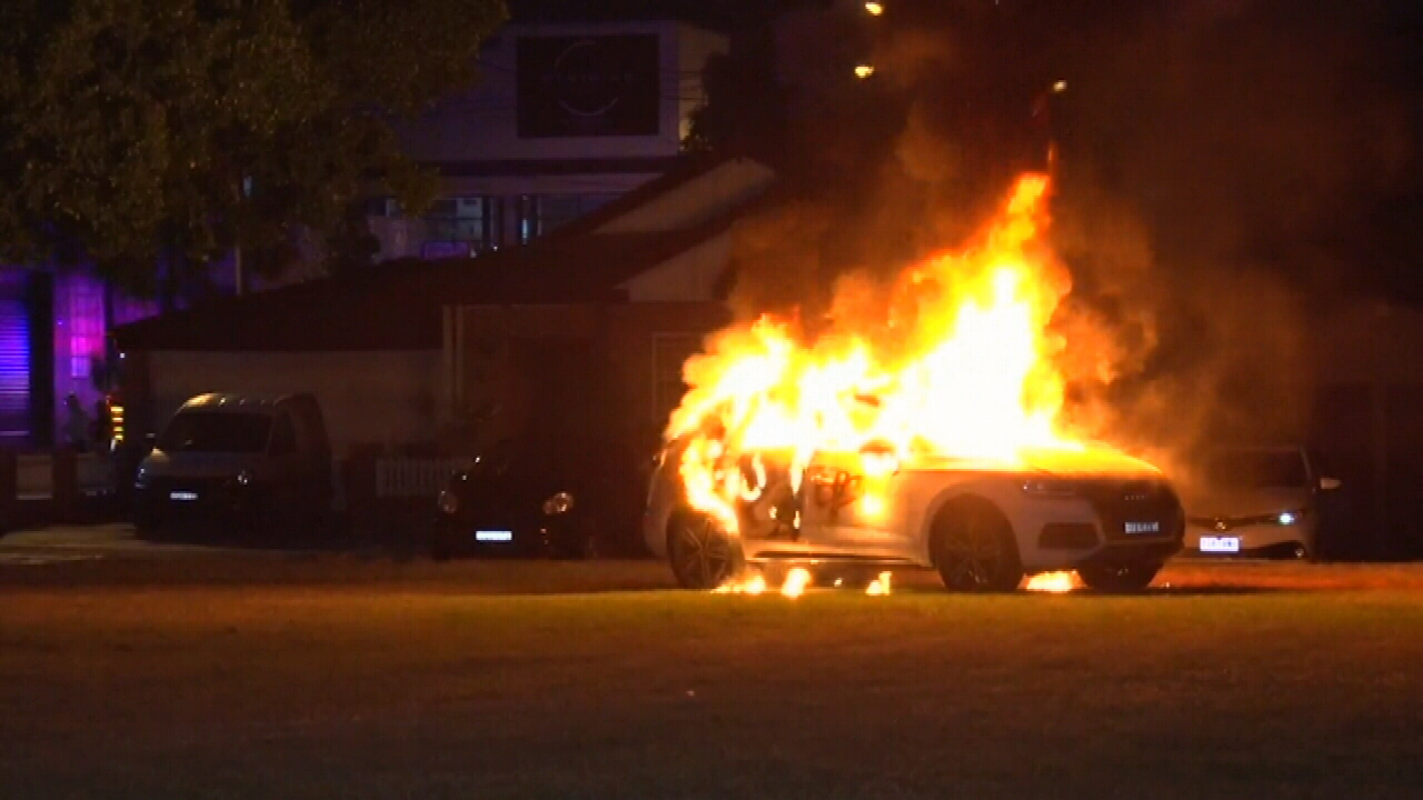 Audi torched in Sydney park